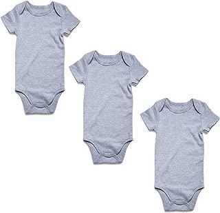 OPAWO Newborn Baby Boys Girls Short Sleeve Bodysuit 3-Pack Cotton One-Piece Romper Jumpsuit