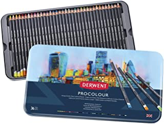 Derwent Colored Pencils, Procolour Pencils, Drawing, Art, Metal Tin, 36 Count (2302507)