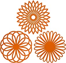 ME.FAN 3 Set Silicone Multi-Use Flower Trivet Mat - Premium Quality Insulated Flexible Durable Non Slip Coasters Hot Pads Orange