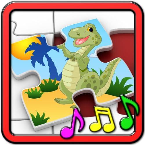 Crianças dinossauro Rex quebra-cabeças - forma educacional e combinando jogo infantil apropriado para meninas e meninos de escola da criança e do jovem pre