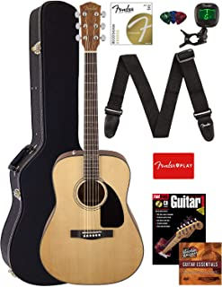 Fender CD-60 Dreadnought Acoustic Guitar Bundle with Hard Case, Strap, Tuner, Strings, Picks, Instructional Book, and Aust...