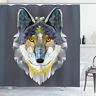 Ambesonne Zoo Shower Curtain, Graphic Design of Coyote Wolf Beast Modern Portrait Geometric Colorful Print, Cloth Fabric Bathroom Decor Set with Hooks, 75