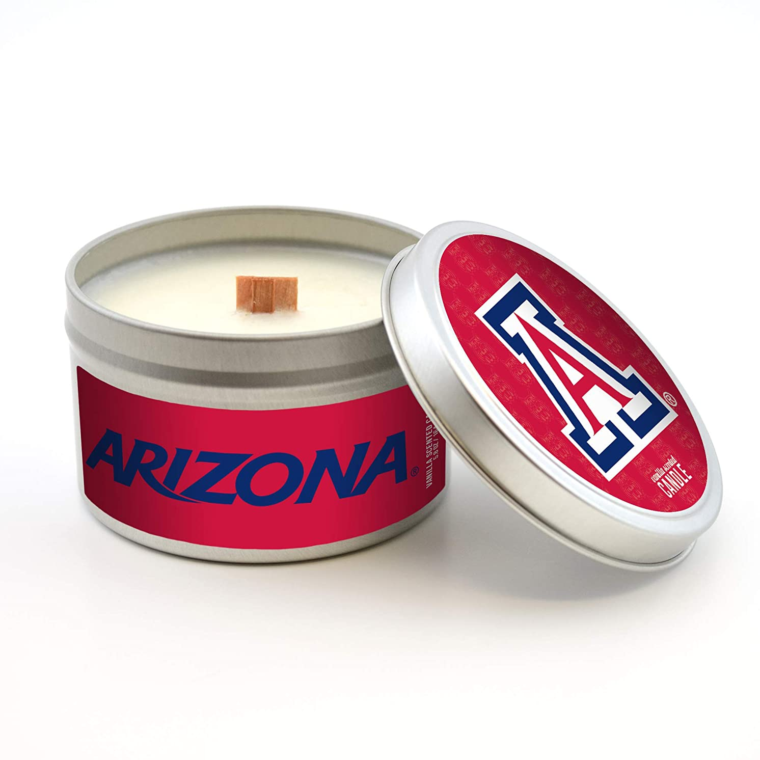Worthy Promo NCAA Arizona Wildcats Travel Tin Candle with Wood Wick, Vanilla Scent, 5.8-Ounce, Gray