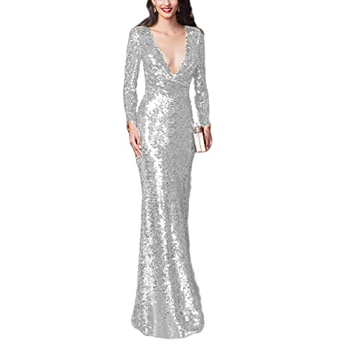 baad6c2d3bb LMBRIDAL Women's V Neck Sequin Mermaid Formal Evening Dress Long Sleeve Prom  Gown Prom Gown EVD04