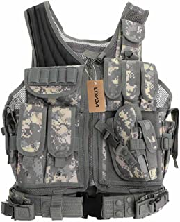 Lixada Tactical Vest Military Airsoft Vest Adjustable Breathable Combat Training Vest for Outdoor Hunting, Fishing, Army Fans, CS War Game, Survival Game, Combat Training