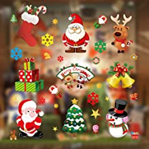 Christmas Window Clings, Miss Rui 10 Sheets Christmas Window Stickers, Snowflakes Reindeer Santa Claus Static Clings for C...