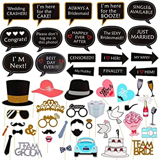Wedding Photo Booth Props KINDPMA 53 Pieces Selfie Props Dress-up Accessories Including Mr and Mrs Party Hats Props Mustache Mouth Props for Bridal Shower Birthday Party Decoration Supplies