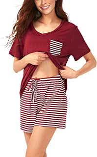 Asiluna Pajamas Set for Women Short Sleeve Sleepwear Pj Soft Loungewear
