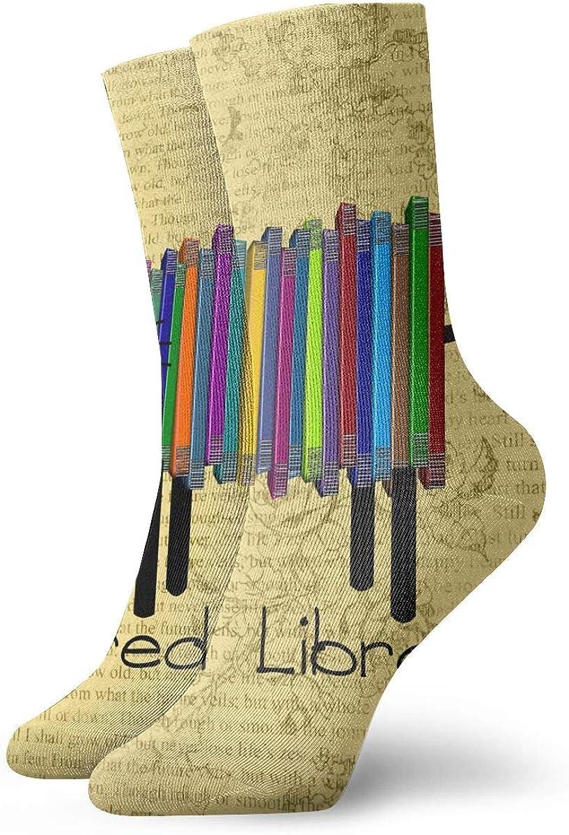 Retro Retired Librarian Book Cat Men & Women Fashion Cute Novelty Funny Casual Art Crew Socks