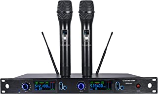Sound Town Metal 200 Channels Professional UHF Wireless Microphone System with Rack Mountable Receiver, 2 Handheld Mics and Auto Scan, for Church, School, Outdoor Wedding, Meeting, Party and Karaoke