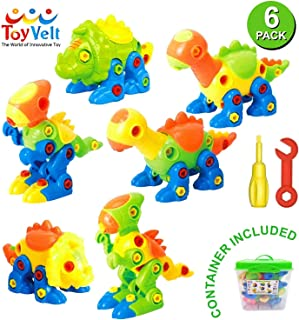 Dinosaur Toys Take Apart Toys With Tools (218 pieces) – Pack of 6 Dinosaurs With 12..