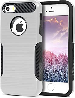 BECIKOO Case for iPhone 5s Case Dual Layer 2 in 1 Hard PC Soft TPU Shockproof iPhone SE Case Carbon Fiber Grip Non-Slip Texture Protective Protective Cover for Apple iPhone 5/5S/SE,4.0 inchs,Silver