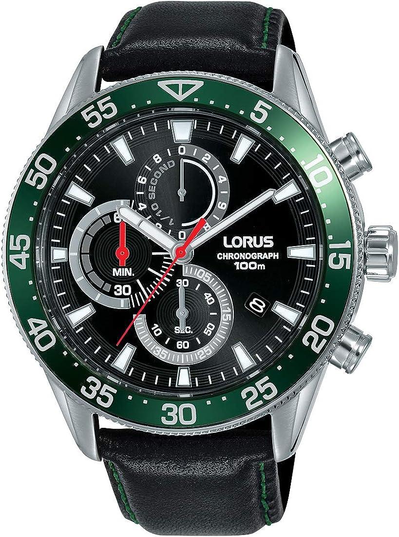 Lorus Reloj Deportivo para Hombre, cronógrafo, Acero Inoxidable, con Correa de Piel.