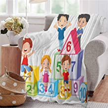 Luoiaax Educational Comfortable Large Blanket Happy Kids Boys and Girls with Number Blocks Triangle Rectangle and Square Microfiber Blanket Bed Sofa or Travel W54 x L72 Inch Multicolor