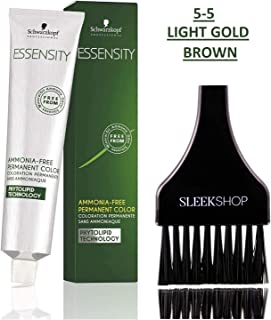 Schwarzkopf ESSENSITY Ammonia-Free PERMANENT HAIR COLOR (with Sleek Tint Applicator Brush) Haircolor with Phytolipid Technology (5-5 Light Gold Brown)