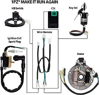 1PZ WH1-D01 Wire Harness Wiring Loom CDI Coil Spark Plug Rebuild Kit for Kick Start Dirt Pit Bike 50cc -140cc Stator CDI Coil ATV Quad Bike Buggy Go Kart