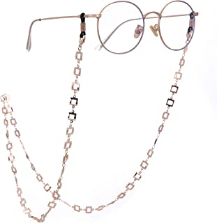 LIKGREAT 2pcs Retro Eyeglass Chain Holder for Women Square Chain Necklace Sunglass Cords