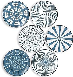 Assiettes Plates - Assiette Dessert Porcelaine - Lot de 6 Assiette Bleue à Salade | Fruit | Hors-d'œuvre| Petit Déjeuner -...