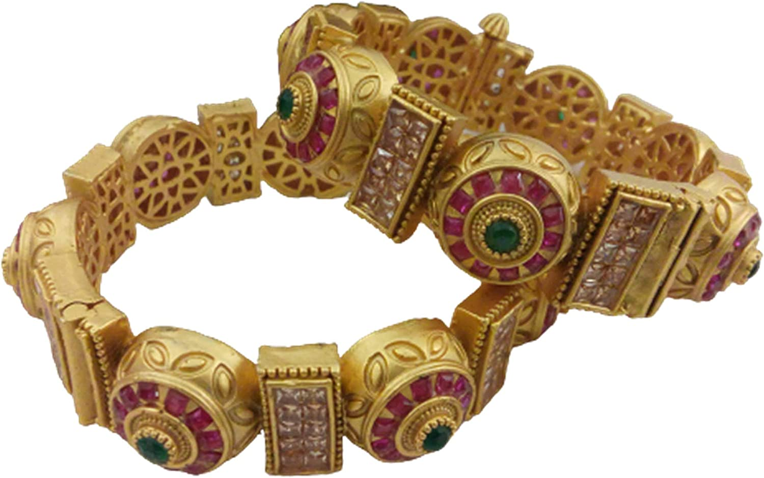 Tezshree (TJ) Indian Style Gold Bangle Set for Women & Girls, Valentine Gift, Ethnic Jewelry, Artificial Fashion