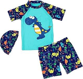 مجموعة ملابس السباحة للأطفال الصغار من قطعتين قصيرة الأكمام بطبعة الديناصور للحماية من الشمس مع قبعات من SERAIALDA