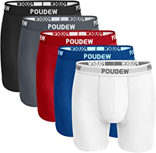 Poudew Men's Underwear 6 Inches Soft Viscose Boxer Briefs, Tagless Mens Boxer Briefs with Pouch, 5 Pack