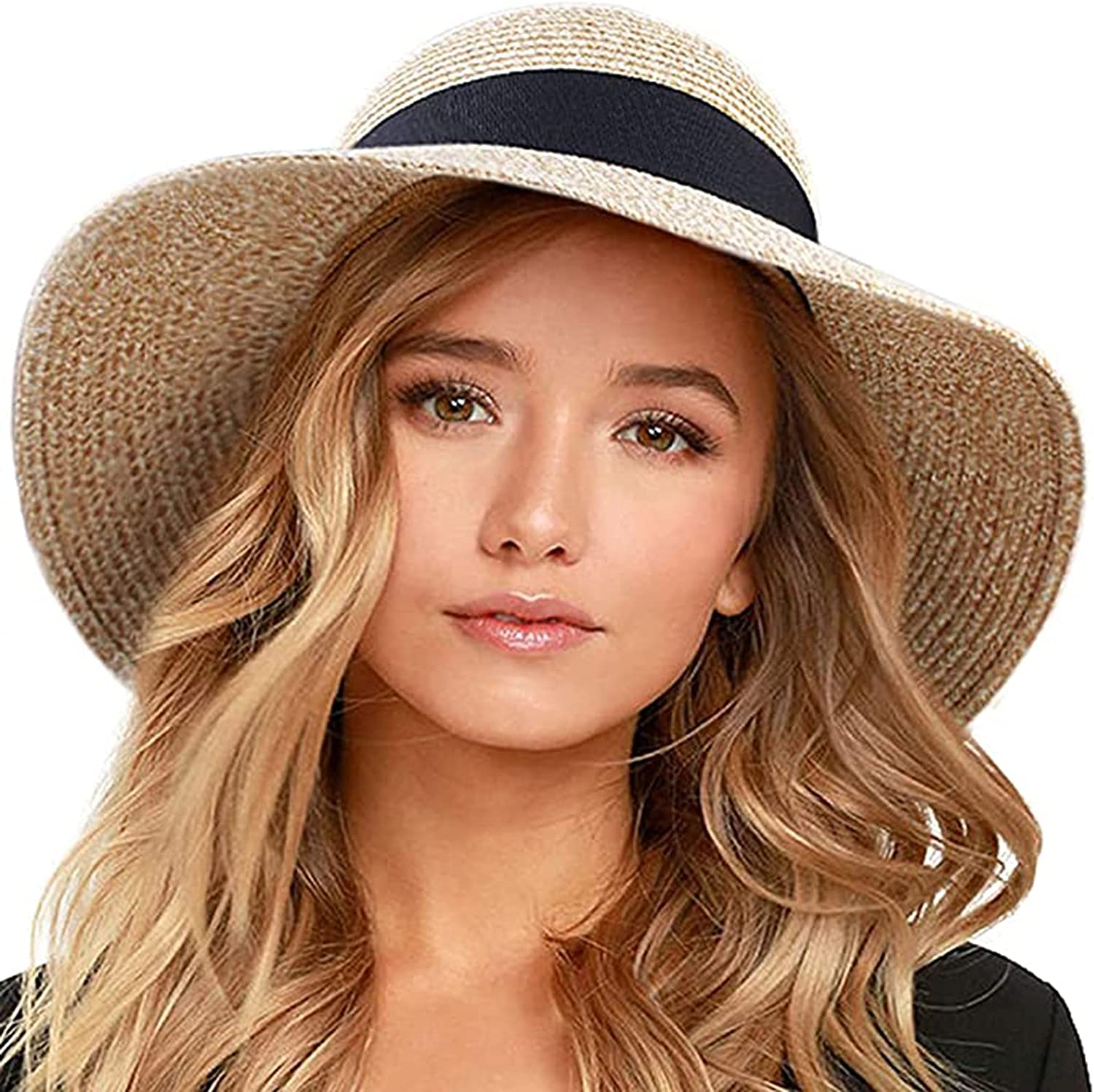 Womens Straw Hat Wide Brim Roll up Fedora Summer Beach Sun Hat with Wind Lanyard Foldable Cap for Travel
