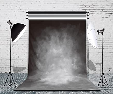 LB Grey Backdrops for Photography 5x7ft Vinyl Vintage Gray Background for Wedding Smash Cake Birthday Party Portraits Photo Booth Backdrop