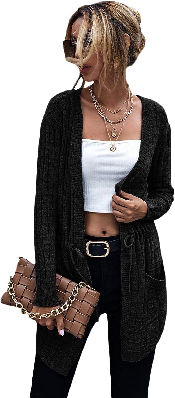 Floerns Women's Solid Waffle Knit Dual Pocket Drawstring Cardigan