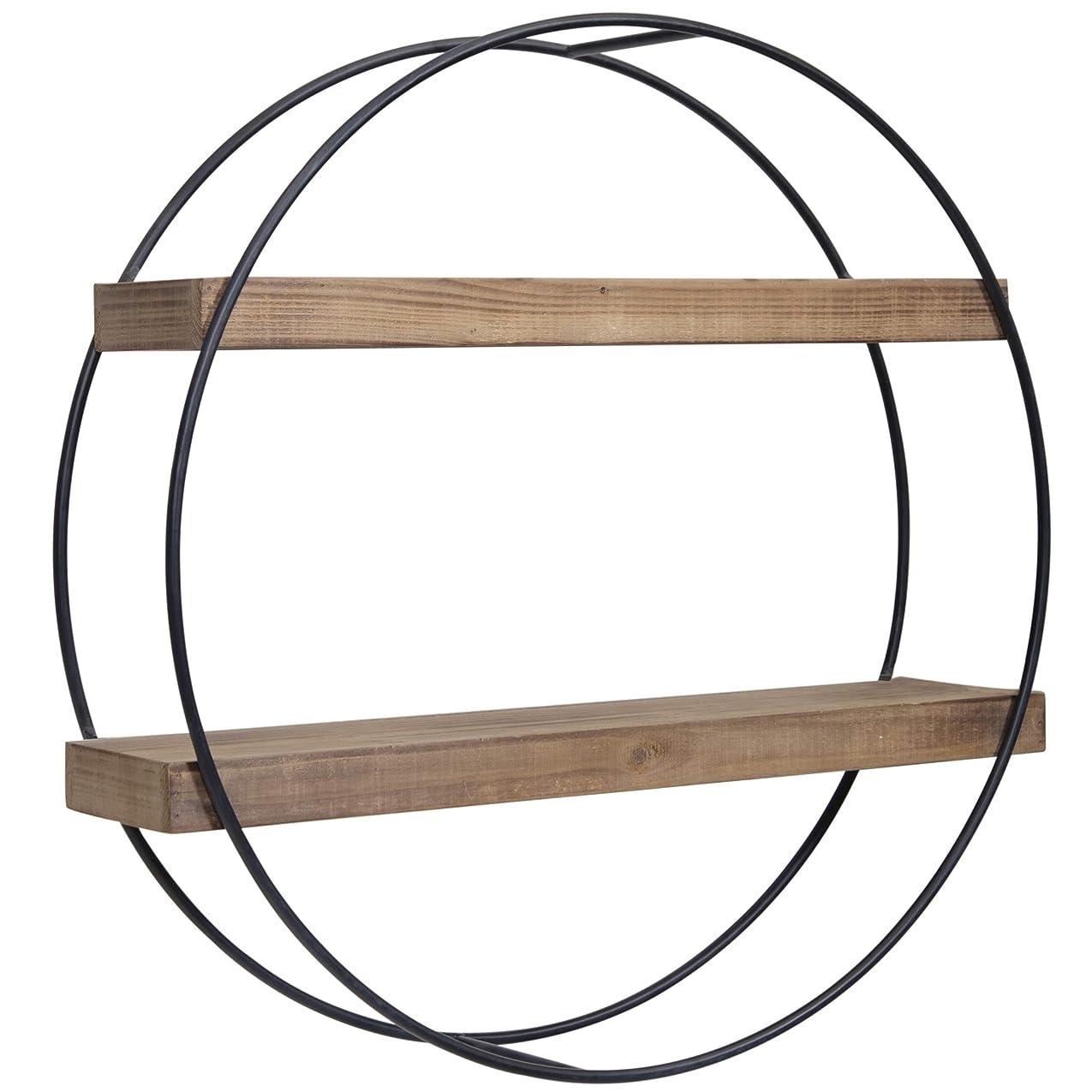 によるとアリススペクトラムEverly Hart Collection インダストリアル ラウンド メタルと木製シェルフ ウォールシェルフ グレー