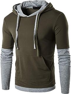 QPNGRP Men's Casual Long/Short Sleeve Slim Fit Hoodie Shirt