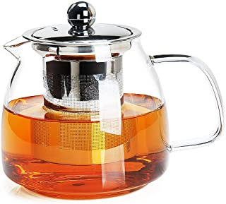 Teapot,Heat-resistant glass kettle,High Borosilicon Material,Hot and cold applicability,25oz/750ml (Transparent handle)