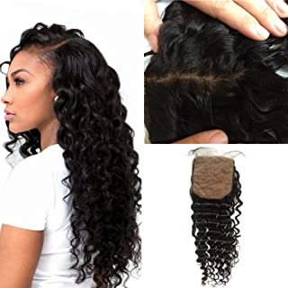 FDshine Deep Wave Silk Base Closure with Baby Hair Free Part Brazilian Human Hair Bleached Knots Slightly (14