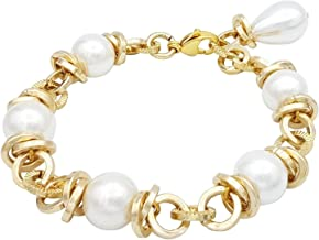 ParticolarModa Bracciale da donna con perle di majorca in alluminio e moschettone in acciaio colore oro e bianco