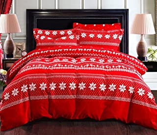 Andreannie Bedding Sets Hexagonal Snowflake Reindeer Elk Christmas Tree Sleigh Christmas Gifts RED Soft Sanding Brushed Co...
