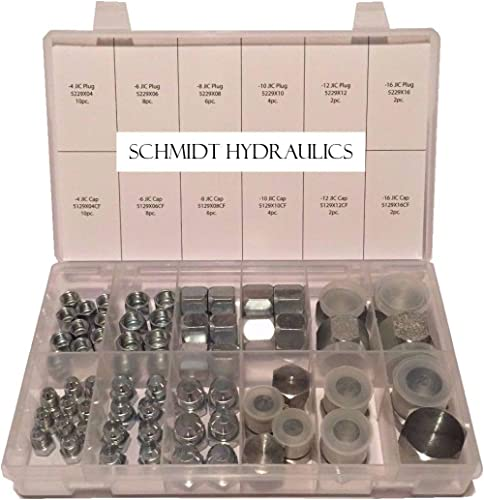 "SCHMIDT HYDRAULIC 37 Degree Flare 64 Pcs Lot JIC Hydraulic Adapter Compression Fitting Plug & Cap ""AN"" Kit Set for Hi..."