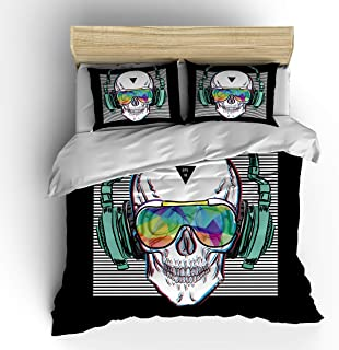 SHOMPE Music Skull Bedding Sets Full Size,Kids White Stripes Punk Rocker Headphones Skull Duvet Cover Set with Pillowcases for Teens Boys Girls,NO Comforter