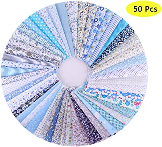 """JYRibbon 50 Pcs 10"""" x 10"""" (25cm x 25cm) Cotton Fabric Squares Quilting Sewing Floral Printed Precut Fabric Sheets for DIY Craft Patchwork"""