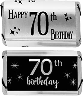 Black and Silver 70th Birthday Mini Candy Bar Wrappers, Shiny Foil - 45 Stickers
