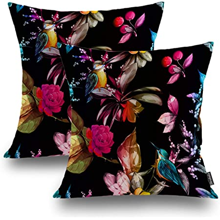 Whooplaart Elegant Decorative Velvet Floral Pillow Cover Double Sides Flower Pillowcases 16 X16 Lc 786 Home Kitchen