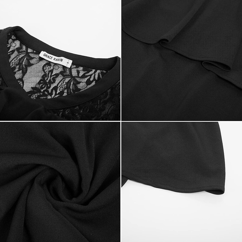 GRACE KARIN Women Off Shoulder Batwing Cape Slim Midi Dress