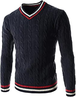 Coolred-Men Splicing Thick Long-Sleeved V-Neck Striped Pullover Sweater