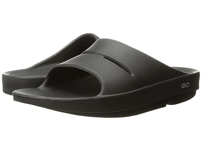 OOFOS OOahh Slide Sandal (Black) Sandals