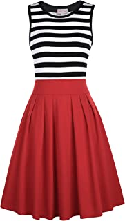 Belle Poque Women's Classy Scoop Neck Striped Retro Swing Dress