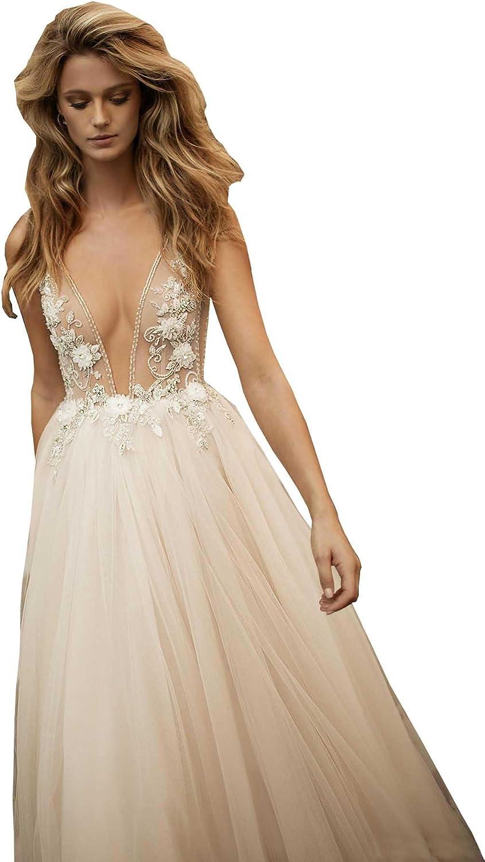 Ellystar Women's Simple ALine Tulle Sleeveless Backless V Neck Bridal Dresses