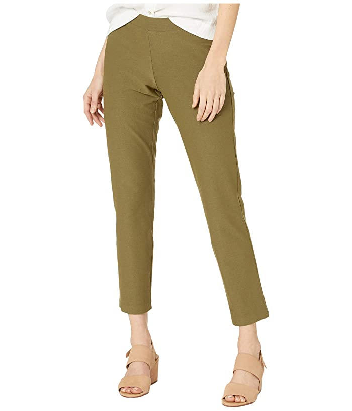 Eileen Fisher  Washable Stretch Crepe Slim Ankle Pants (Olive) Womens Casual Pants