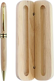 قلم نوشتن در جعبه هدیه چوبی جعبه ای سازگار با محیط زیست برای استفاده اجرایی و لوکس ، دفتر ، مشاغل ، مشکی سیاه ، هدیه زیبا برای مردان