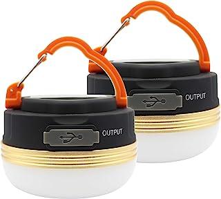 MOSTOP 2 Pack Camping Light Lantern LED Lampe Rechargeable USB Étanche 3 Modes Power Bank Tent Lights pour Camping en Plei...