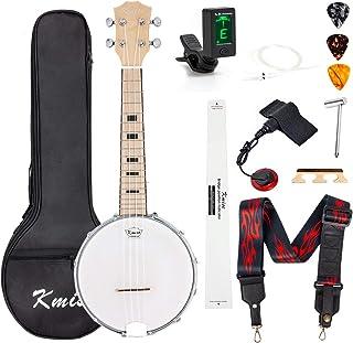 Banjo Ukulele Concert Size 23 Inch With Bag Tuner Strap Strings Pickup Picks Ruler Wrench Bridge (White)