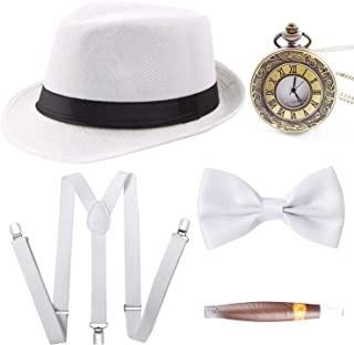 1920s Mens Gatsby Gangster Costume Accessories Set Panama Manhattan Fedora Suspenders Bow Tie Cigar