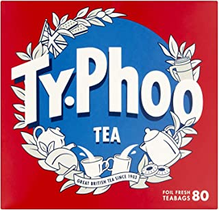 Typhoo Tea: 80 Authentic English Tea Bags Individually Wrapped, Black Tea Bags, British Black Tea, British Blend, English ...